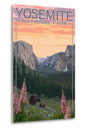 Bears and Spring Flowers - Yosemite National Park, California-Lantern Press-Metal Print