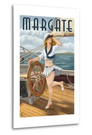 Margate, New Jersey - Pinup Girl Sailing-Lantern Press-Metal Print
