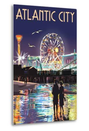 Atlantic City - Steel Pier at Night-Lantern Press-Metal Print