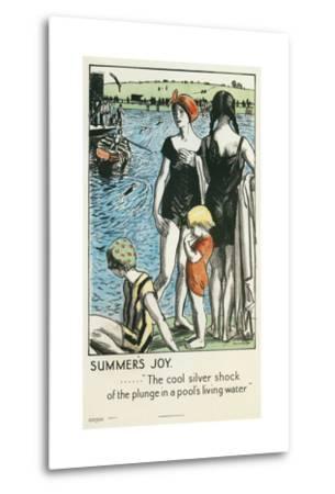 Summer's Joy, Swimming--Metal Print