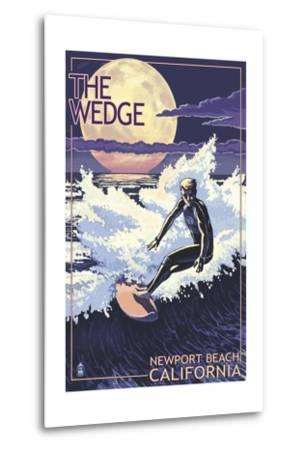 Newport Beach, California - Surfing the Wedge-Lantern Press-Metal Print