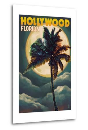 Hollywood, Florida - Palms and Moon-Lantern Press-Metal Print