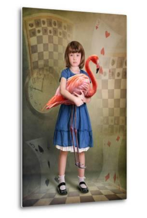 Alice Trying to Play Croquet with Flamingo-egal-Metal Print