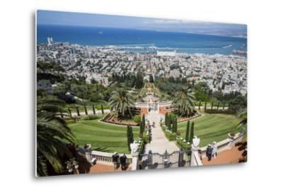 View over the Bahai Gardens, Haifa, Israel, Middle East-Yadid Levy-Metal Print