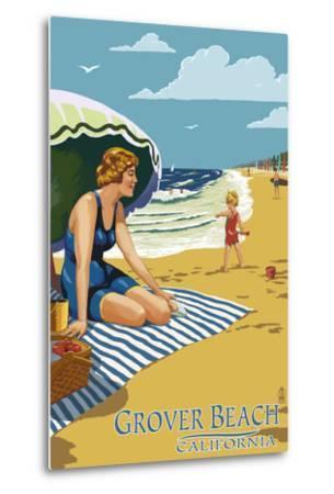 Grover Beach, California Beach Scene-Lantern Press-Metal Print