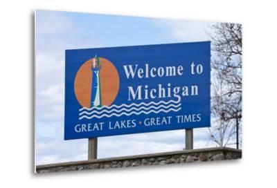 Welcome to Michigan Sign-Paul Souders-Metal Print