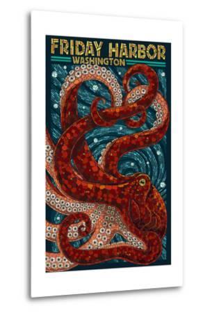 Friday Harbor, San Juan Island, WA - Ocotpus Mosaic-Lantern Press-Metal Print