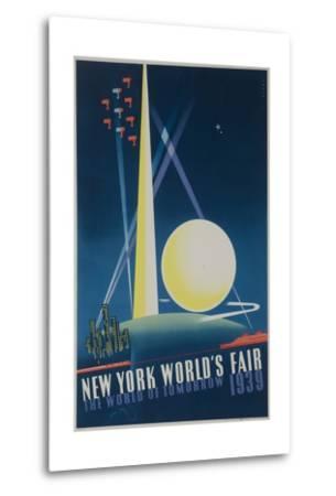 1939 New York World's Fair Poster, the World of Tomorrow, Blue--Metal Print