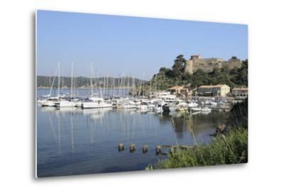 Sailing Yachts and Other Boats Moored at Port Cros Island in Front of Fort De L'Eminence Castle-Nick Upton-Metal Print