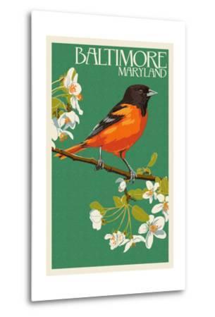Oriole - Baltimore, MD-Lantern Press-Metal Print