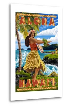 Hula Girl on Coast - Aloha Hawaii-Lantern Press-Metal Print