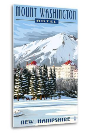 Mount Washington Hotel in Winter - Bretton Woods, New Hampshire-Lantern Press-Metal Print