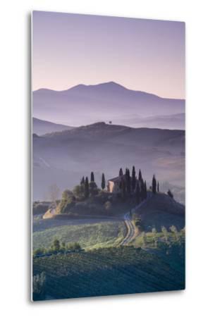 Iconic Tuscan Farmhouse, Val D' Orcia, UNESCO World Heritage Site, Tuscany, Italy, Europe-Doug Pearson-Metal Print