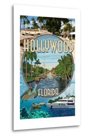 Hollywood, Florida - Montage-Lantern Press-Metal Print