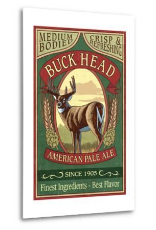 White Tailed Deer Ale - Vintage Sign-Lantern Press-Metal Print