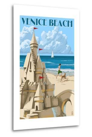 Venice Beach, California - Sandcastle-Lantern Press-Metal Print