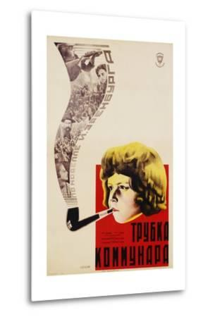 Russian Movie Poster Depicting a Child Smoking a Pipe--Metal Print