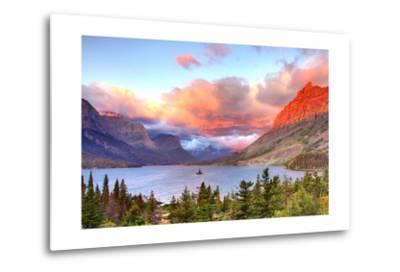 Glacier National Park, Montana - St. Mary Lake and Sunset-Lantern Press-Metal Print