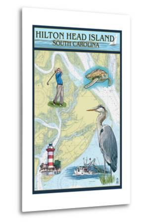 Hilton Head, South Carolina - Nautical Chart-Lantern Press-Metal Print