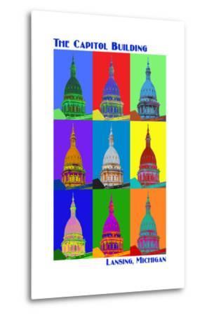 Pop Art - Capitol Building - Lansing, Michigan-Lantern Press-Metal Print