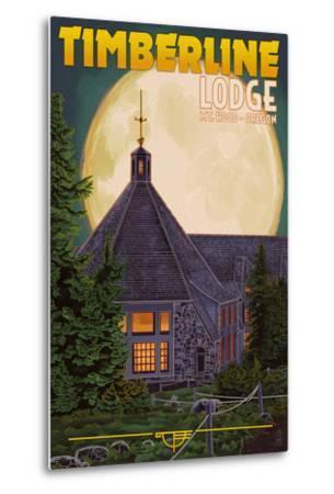 Timberline Lodge and Full Moon - Mt. Hood, Oregon-Lantern Press-Metal Print