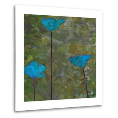 Teal Poppies II-Ricki Mountain-Metal Print