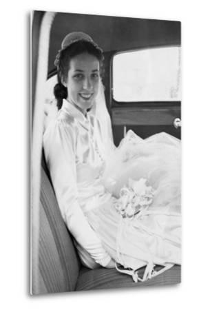 Bride in the Backseat of Car, Ca. 1950--Metal Print