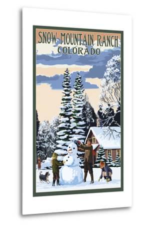 Snow Mountain Ranch, Colorado - Snowman Scene-Lantern Press-Metal Print