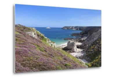 View Along the Cliffs of Cap Frehel to the Lighthouse, Cotes D'Armor, Brittany, France, Europe-Markus Lange-Metal Print