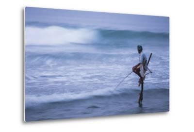 Stilt Fishing, a Stilt Fisherman in the Waves at Midigama Near Weligama, South Coast-Matthew Williams-Ellis-Metal Print