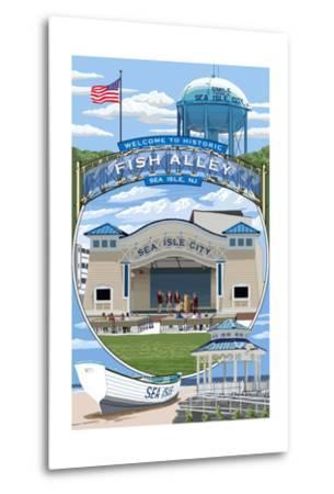 Sea Isle City, New Jersey - Montage-Lantern Press-Metal Print