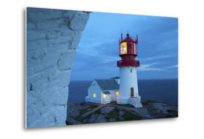 The Idyllic Lindesnes Fyr Lighthouse Illuminated at Dusk-Doug Pearson-Metal Print
