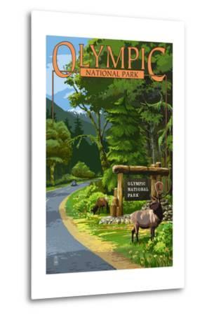 Park Entrance and Elk - Olympic National Park, Washington-Lantern Press-Metal Print