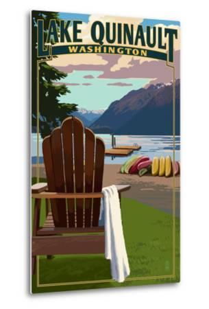Lake Quinault and Adirondack Chairs - Washington-Lantern Press-Metal Print
