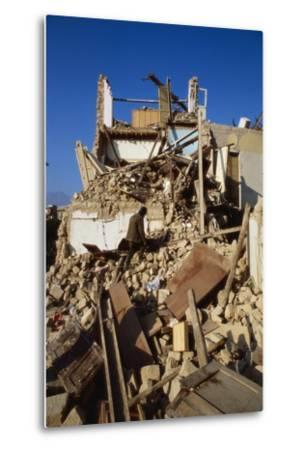 Building Destroyed by Earhquake--Metal Print