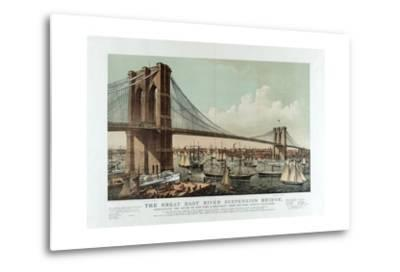 The Great East River Suspension Bridge-Currier & Ives-Metal Print