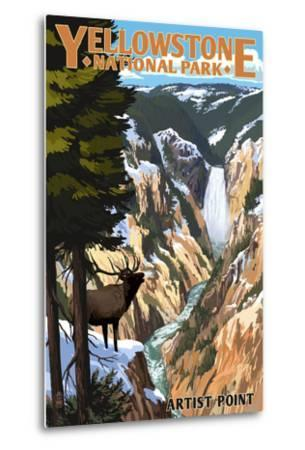 Yellowstone National Park - Artist Point and Elk-Lantern Press-Metal Print