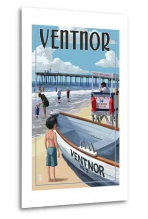 Ventnor, New Jersey - Lifeguard Stand-Lantern Press-Metal Print