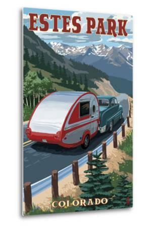 Estes Park, Colorado - Retro Camper-Lantern Press-Metal Print