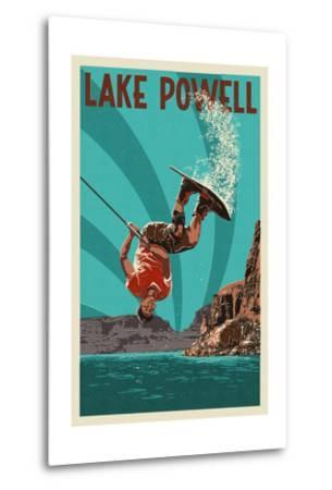 Lake Powell - Wakeboarder-Lantern Press-Metal Print