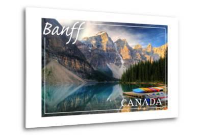 Banff, Canada - Moraine Lake Canoes-Lantern Press-Metal Print