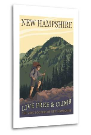 Ossipee Lake, New Hampshire - Live Free and Climb-Lantern Press-Metal Print