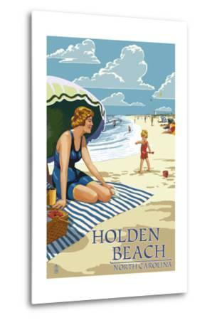 Holden Beach, North Carolina - Woman on Beach-Lantern Press-Metal Print