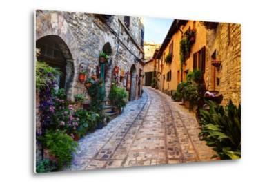 Street in Spello, Italy-Terry Eggers-Metal Print
