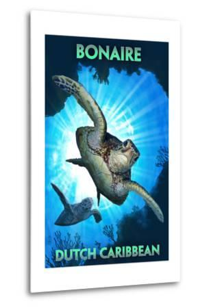 Bonaire, Dutch Caribbean - Sea Turtle Diving-Lantern Press-Metal Print