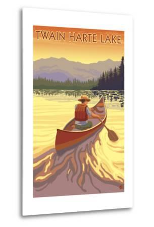 Twain Harte, California - Canoe Scene-Lantern Press-Metal Print