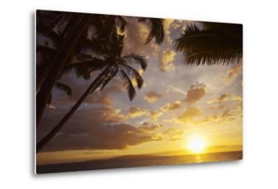 Sunset with Palm Trees in Kihei, Maui, Hawaii-Ron Dahlquist-Metal Print