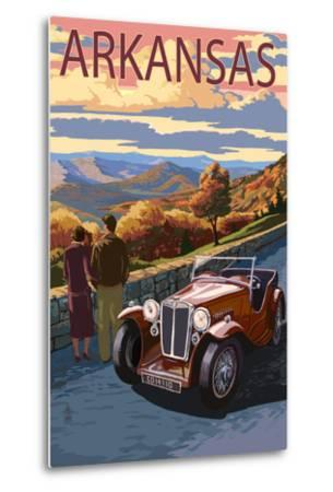 Arkansas - Outlook and Sunset Scene-Lantern Press-Metal Print