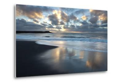 Looking Towards the North Atlantic at Sunrise from the Black Volcanic Sand Beach at Vik I Myrdal-Lee Frost-Metal Print