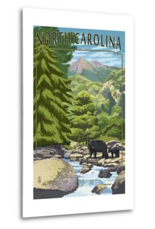 North Carolina - Bears and Creek-Lantern Press-Metal Print
